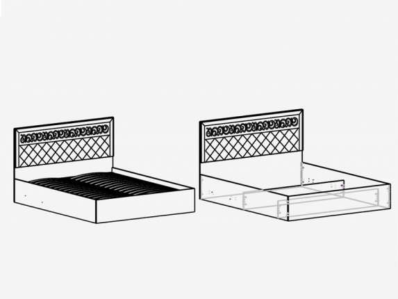 Кровать 1400 М10 Париж Ясень шимо светлый-силк-тирамису