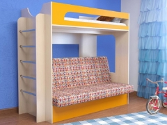 Кровать 2-х ярусная № 9 с диваном манго