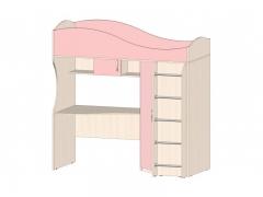 Кровать-чердак Буратино Розовый