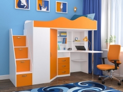 Кровать-чердак Пионер 1 Белое дерево-Оранжевый