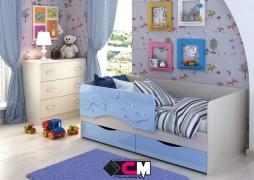 Кровать детская Алиса КР-812 1600 Белфорт/Голубой