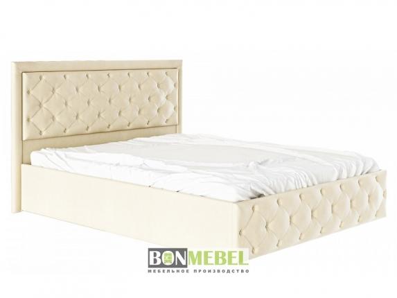 Кровать Мишель 1600 с ПМ пуговицы кожзам бежевый
