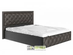 Кровать Мишель 1600 с ПМ пуговицы кожзам коричневый