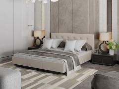 Кровать с мягкой обивкой тип 2 Элис Серо-бежевый кожзам