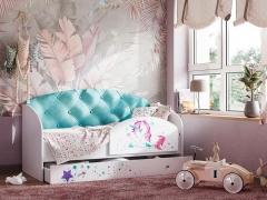 Кровать Звездочка с бортиком бирюзовый
