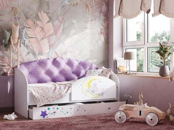 Кровать Звездочка с бортиком фиолетовый