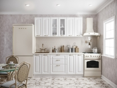 Кухня Кантри МДФ 1800 белая структурная