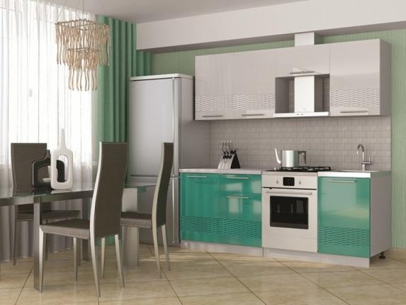 Кухня София 3D 2100 МДФ белый-бирюза