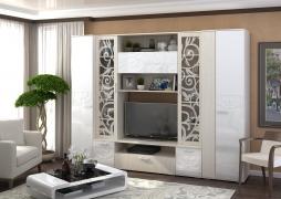 Модульная гостиная Асти Белый глянец