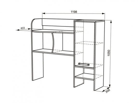 Надстройка стола компьютерного Лайт-1 ШхВхГ 1198х1050х403 мм
