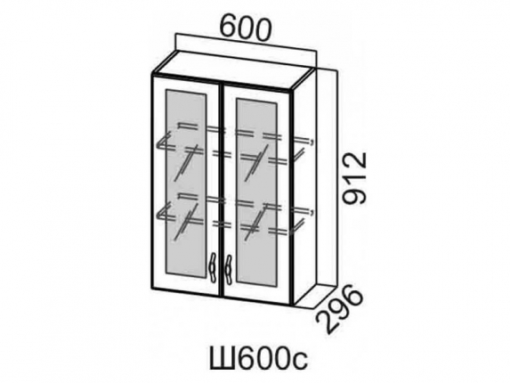 Шкаф навесной со стеклом 600 Ш600с 912х600х296мм Венеция