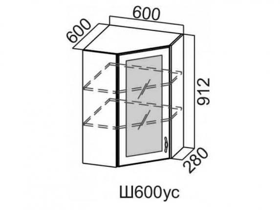 Шкаф навесной угловой со стеклом 600 Ш600ус 912х600х600мм Венеция
