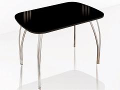 Стол обеденный Агат венге-лакобель черная