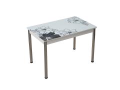 Стол обеденный со стеклом Линда Черно-белый