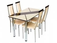 Стол обеденный со стеклом Маэстро шоколадно-бежевый