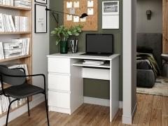 Стол письменный с 3 ящиками Мори МС-6 Белый