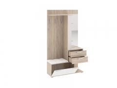 Вешалка комбинированная с крючками и зеркалом Эрика Дуб сонома-Белый